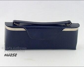 Very Unusual Vintage Navy Blue Handbag Purse (Inventory #HB252)