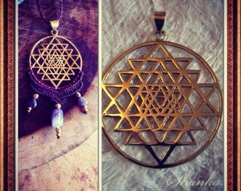 Sri Yantra Pendant -10 dollars WHEN U BUY 10 pc SALE Sacred Geometry Pendant, Yoga Jewelry, Hindu Goddess, Sri Chakra
