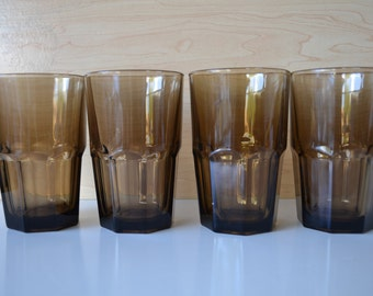 Brown Libbey Duratuff Carissa Tumblers - set of 4