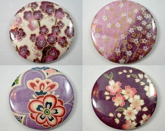 Japanese Chiyogami Paper Pocket Mirror - Choose One! - Purple Collection - Sakura - Cherry Blossoms - Mod Flowers - Hand Mirrors