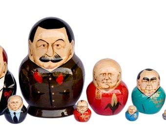 Russian politicians leaders Stalin, Lenin, Hrutchev,  Putin, Eltsyn, Gorbachev, Matryoshka  nesting doll 10 pc Free Shipping plus free gift!