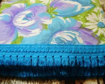 Mid-Century Twin Bedspread Turquoise & Purple Fringed