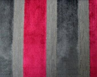 Modern Velvet Stripe Ruby Fabric