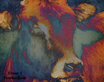 Turquoise Cow Canvas