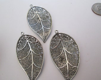 Silver filagree leaf pendant/charm 2 for 1.50