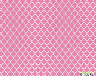 Pink quatrefoil craft  vinyl sheet - HTV or Adhesive Vinyl -  quarterfoil pattern   HTV1425