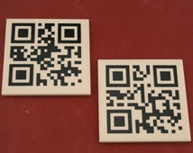 Master and Slave QR code ceramaic coasters. Kinky BDSM Mature S and M