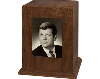 Walnut Vertical Photo Wood Cremation Urn