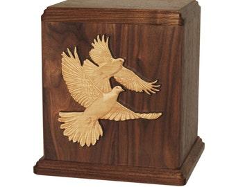 Walnut Doves Wood Cremation Urn