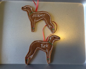 Whippet or Greyhound or Italian greyhound Personalized Felt Gingerbread or Angel Ornament