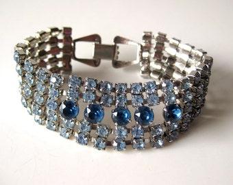Vintage Blue Rhinestone Bracelet / Vintage Jewelry / Prom Jewelry