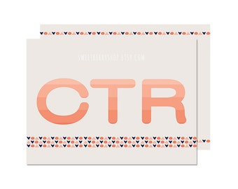 Coral CTR | Missionary Note Card/ Journal Card