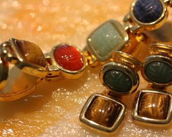 Vibrant KJL Egyptian Modern Vintage Bracelet and Earrings.