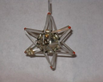 Mid century modern Christmas tree ornament atomic star Czechoslovakia vintage glass plastic bead silver white