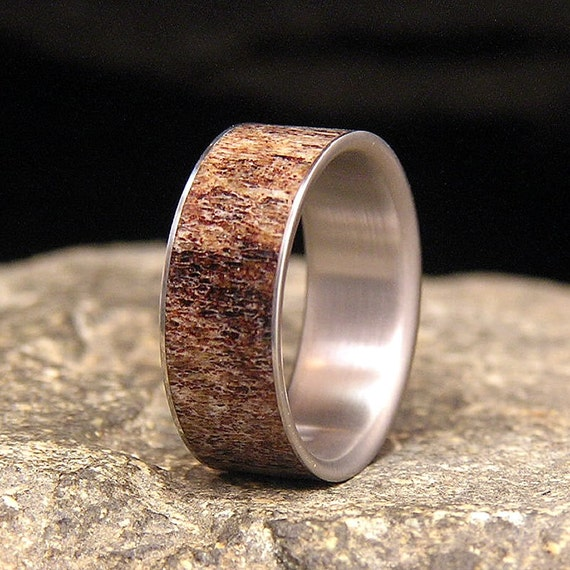 Elk Antler Inlay Titanium Wedding Band Or Ring