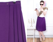 Purple Skirt 80s Pleated Vintage Two Buttons 1980s