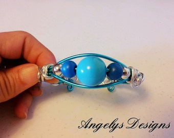 Blue and Silver Artistic Wire Bracelet