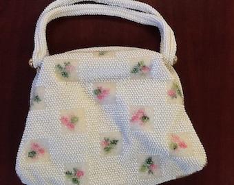 Vintage Lumured beaded purse, cream beads with pink flowers, 50s handbag