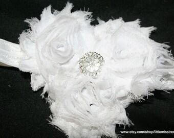 White Shabby Chic Flower Headband, White 3 Flower Headband, White toddler headband, White newborn headband, Baptism Christening Headband