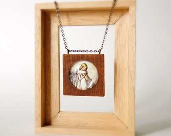 Handmade square wood frame with glass necklace with long chain, ready to ship
