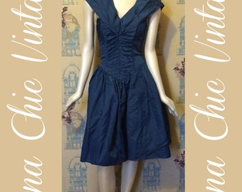1980's Blue midi dress for prom / wedding / formal occasion