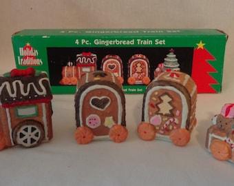Four piece Gingerbread Train Set