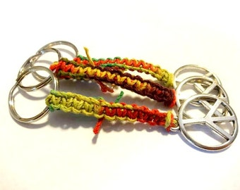 Cool Keychains, Peace Keychain, Rasta Keychain, Macrame Keychain, Peace Key Chain, Colorful Hemp Keychain, Car Accessories, Peace Gifts