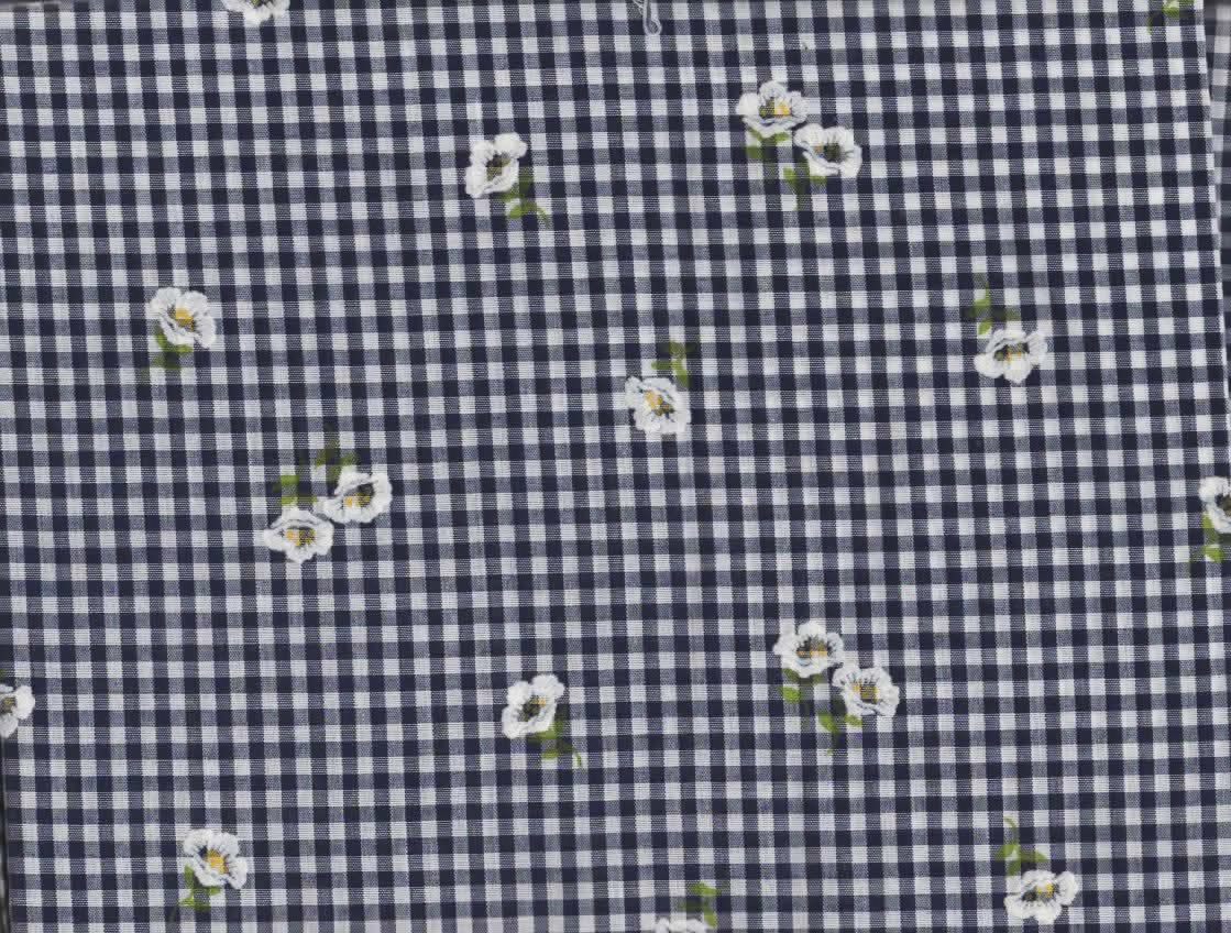 Gingham quilt fabric black white w embroidered
