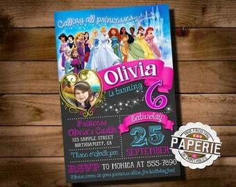 DISNEY PRINCESS Photo BIRTHDAY Invitation, Princess Party Ideas, Disney Princess Invitation, Printable Invitation, Pink Frosting Paperie