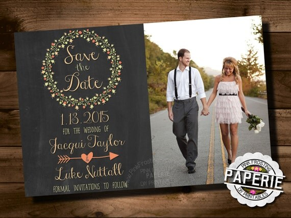Chalkboard Style Save-the-Date- Printable, Floral Invite, Shabby Chic, Casual Wedding Invite // Pink Frosting Paperie