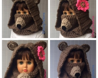 Crochet Patterns * Bear Hooded Cowl * Instant Download Pattern # 477 * baby toddler child teen adult sizes * bulky * easy