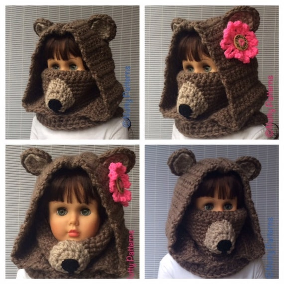 Crochet Baby Bear Cowl Pattern : Crochet Patterns * Bear Hood with Cowl * Instant Download ...