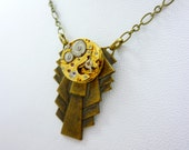 Neo-Classical Steampunk Necklace, with vintage Girard Perregaux watch movement by VictorianFolly