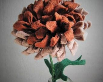 Brown Felt Mum on a Stem - Artificial Flower - Fake Flower - Fake Mum - Felt Flower - Artificial Mum