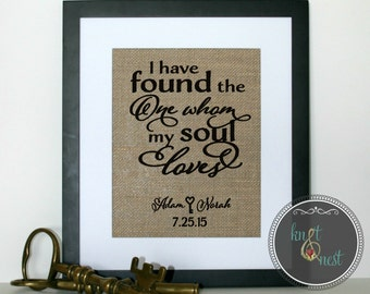 Love Quote on Burlap for a Personalized Wedding, I Have Found the One Whom My Soul Loves, Song of Solomon 3:4, Wedding Ideas