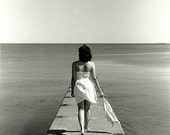 Photography, Black and White, Film, Beach, Portrait, Girl Walking on Pier