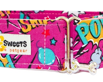 "Noddy & Sweets Adjustable Martingale Collar [1"", 1.5"", 2"" Kapow! Pink]"