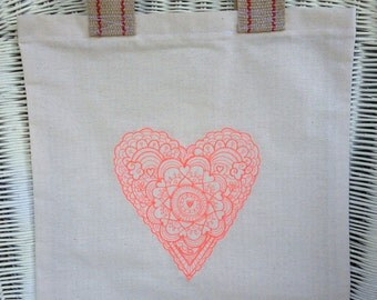 Mehndi Inspired Heart Embroidered Tote Bag