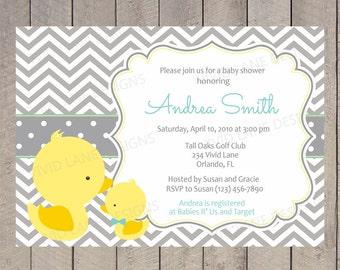 Ducks Baby Shower Invitation, Printable - Boy Baby Shower, Grey and Yellow, Baby Boy Shower, Yellow Duckies, Mom and Baby - 052