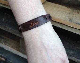 "Braided leather ""Live"" bracelet. Java Brown"