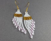 SALE, Pearly White Beaded Dangle Earrings, Gold, Rose Pink Accent, Wing Like Shape