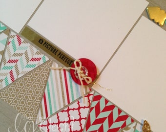 Patterned Pennants Single Page Scrapbook Layout