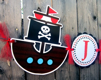 Pirate Birthday Banner - Pirate Party Banner - Pirate Ship Banner