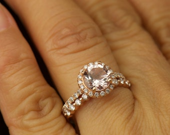 Mia & Brooke Set - Morganite and Diamond Engagement Ring and Diamond Wedding Band in Rose Gold, Halo and Single Shared Prong, Free Shipping