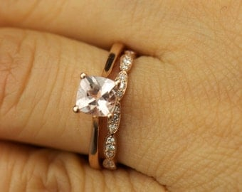 Emma C & Lesly Set - Morganite Engagement Ring and Diamond Wedding Band in Rose Gold, Cushion Cut Solitaire, Wavy Wall Design, Free Shipping