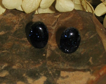 Blue Goldstone and Sterling Silver Earrings