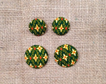 Green African Prints Studs Earrings