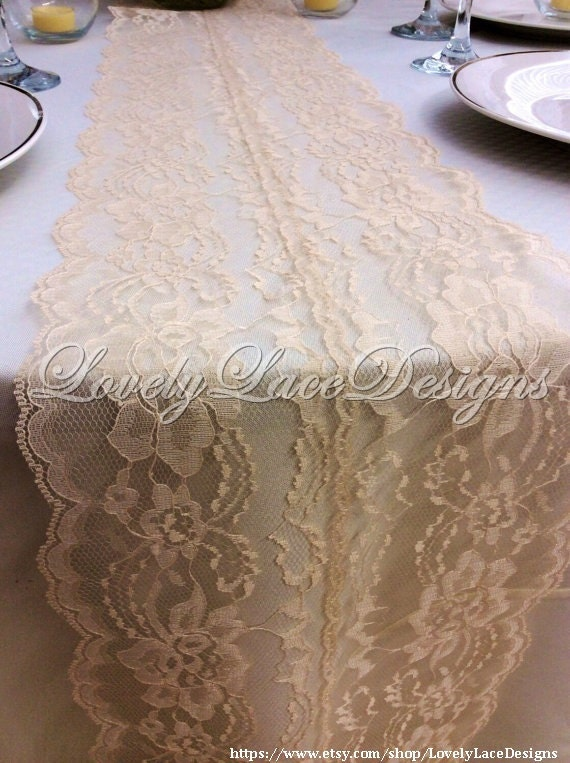 natural lace table runner 5ft 10ft x 8in wide rustic weddings table