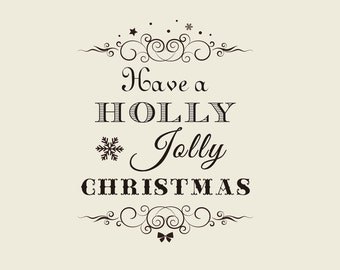 """Holiday Greeting rubber stamp ( 2.36"""" x2"""" ) - Holly Jolly Christmas Custom Stamp - Custom Rubber Stamp   - Have a Holly Jolly Christmas"""