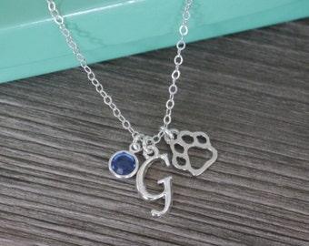 Paw Necklace, Silver Paw Necklace, Dog Necklace, Cat Necklace, Personalized Dog Necklace, Personalized Cat Necklace, Dog Paw, Cat Paw, SALE